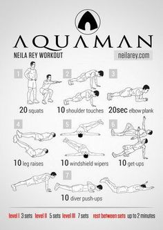By neila rey - aquaman workout Ace Fitness, Planet Fitness Workout, Mens Fitness, Fitness Plan, Fitness Workouts, Hero Workouts, At Home Workouts, Workout Schedule, Workout Challenge