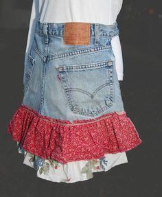 Repurposed Denim Jeans Half Apron with Ruffle. $13.50, via Etsy.