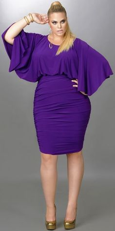 """""""Gia"""" Batwing Ruched Dress - Purple"""