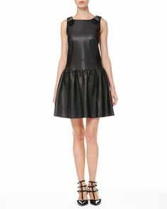 Leather Drop-Waist Bow Dress by RED Valentino at Neiman Marcus.