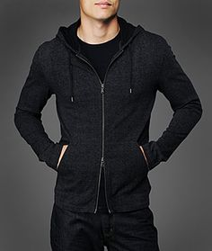 reversed printed zip front hoody by john varvatos