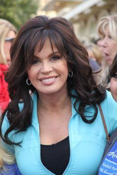 Marie Osmond Long, Curly, Brunette Hairstyle with Bangs - Beauty Riot Long Hair With Bangs, Long Curly Hair, Curly Hair Styles, Hair Bangs, Remy Hair Wigs, Human Hair Wigs, Vanessa Hudgens, Marie Osmond Plastic Surgery, Hairstyles With Bangs