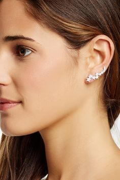 Sterling Silver CZ Star Ear Climbers by Gab+Cos Designs on @HauteLook