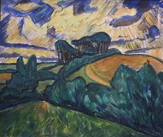 Erich Heckel - Landscape in Holstein, 1913 at Städel Art Museum Frankfurt Germany Ernst Ludwig Kirchner, Wassily Kandinsky, Landscape Drawings, Landscape Paintings, Landscapes, Vincent Van Gogh, Frankfurt Germany, Moma, Italy Travel