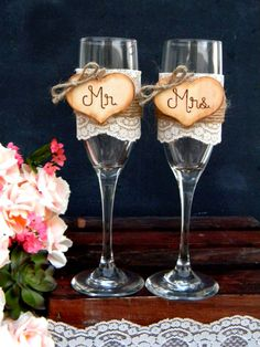 Mr. & Mrs. Glasses Champagne Flutes Rustic Country Woodland Shabby Chic Burlap and Lace Toasting Flutes by justforkeeps
