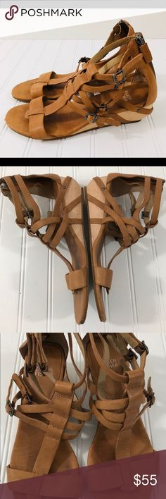 Eileen Fisher Size 9 Sandals Echo Gladiator Eileen Fisher Women's Size 9 Sandals Echo Gladiator Strappy Wedge Tan Leather Please see photos for condition. Preowned  Thoroughly sanitized. Eileen Fisher Shoes Sandals