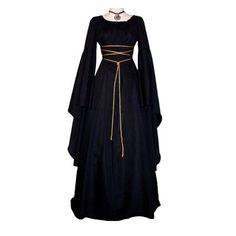 Women Medieval Dress Renaissance Vintage Style Gothic Dress Floor Length Women Cosplay Dresses Without Belt Medieval Dress Gown Fancy Maxi Dress, Maxi Dress With Sleeves, Retro Dress, Dress Vintage, Ruffle Dress, Sleeved Dress, Vintage Lace, Medieval Dress, Renaissance Dresses