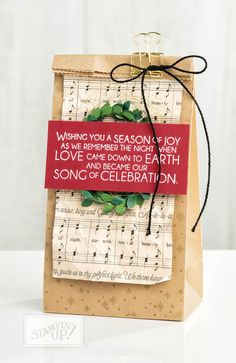 Decorate a cute bag with the sentiment from Stampin' Up! Night of Bethlehem stamp set