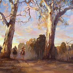 Riders in the Red Gums - after Hans Heysen by Pieter Zaadstra Beautiful Landscape Paintings, Great Paintings, Landscape Art, Indigenous Australian Art, Australian Artists, Australian Icons, Australia Landscape, Australian Painting, Epic Art