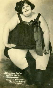 "CWi 3205 - Photograph of ""Alice from Dallace""  From Ringling Brothers Barnum and Bailey Circus. Stamped on the Back of a postcard W.W.Green Washington, Kansas."