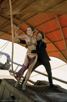 Luke Skywalker and Princess Leia escape Jabba The Hutt from Star Wars Return Of The Jedi