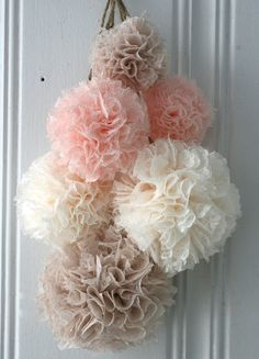Baby Shower, Blush Lace, Baptism Decorations, Nursery Decor, Baby Girl Nursery, Pom Pom Mobile, Hanging Pom Poms, Lace Pom Poms on Etsy, $38.00
