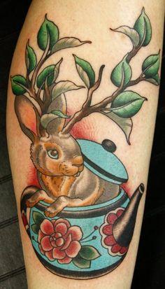 Rabbit In Pot Tattoo