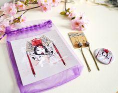 Lot papeterie, boucles d'oreille, miroir de poche aux tons violet et rose. : Autres accessoires par mes-tites-lilis