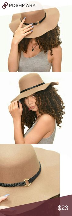 Camel Wool Wide Brim Braided Floppy Hat Compliment your outfit with this chic floppy hat. It features:  Braided detail with gold ring 100% Polyester Brim: 4 inches Accessories Hats