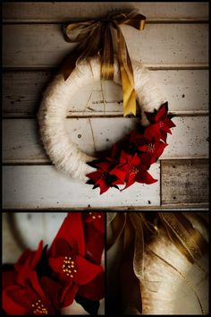 poinsettia wreath...wonder if I could make this