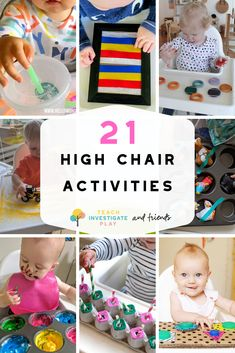 21 Highchair Activities for Tabies & Toddlers – Teach Investigate Play # indoor activities for 1 year old 21 Highchair Activities for Toddlers and Tabbies Activities For One Year Olds, Toddler Learning Activities, Infant Activities, Child Development Activities, Learning Games, Kids Learning, Summer Activities, 15 Month Old Development, 1year Old Activities