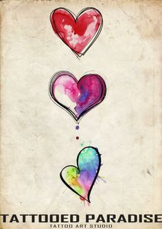 Watercolor Hearts Tattoo Idea