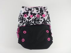 Damask Wing-to-Wing $18 #clothdiaper #pocketdiaper #wahm #damask #blackandwhite #wingtowing #pink #diaper #clothdiapers