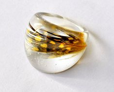 Chunky Feather Resin Ring Resin Jewelry Limited by LudditeMade
