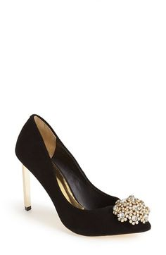 Free shipping and returns on Ted Baker London 'Peetch' Pointy Toe Pump (Women) at Nordstrom.com. The dazzling, crystallized dome at the toe of the Peetch pump gives it a certain vintage flair that's balanced with a sharp, modern stiletto and a logo stud at the back.