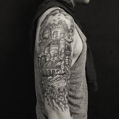 Chronic Ink Tattoo - Toronto Tattoo  Castle in the sky tattoo in progress by Miss Lee.