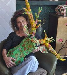 Magda Van der Vloed is a South African artist, designer and product developer who loves working with recycled materials. She frequently crochets with recycled plastic bags as well as with thick PVC wire/ recycled phone cords.