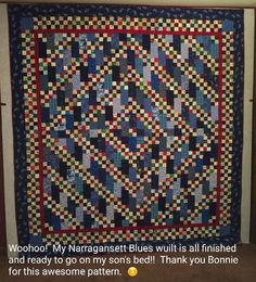 Karen Lieberman is sharing her beautiful Narragansett Blues quilt all ready for her son's bed! I love it, Karen! The pattern for Narragansett Blues is found in my book MORE Adventures with Leaders and Enders. Signed copies available on my website at http://quiltville.com #quilt #quilting #patchwork #quiltville #bonniekhunter #quiltsbyyou
