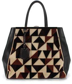 FENDI Brown Black Leather Suede Cut Triangle 2Jours Elite Shopper Tote #Fendi #TotesShoppers