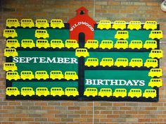 September Birthday Bulletin Board - School Buses heading back to school!