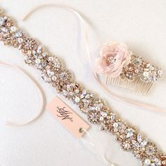 Rose Gold and Blush Crystal Bridal Belt- Custom Bridal Sash- Rhinestone, Sequin and Pearl Bridal Sash