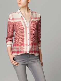 Massimo Dutti $95 Silk/Cotton Blend SHIRT WITH CHECKS AND FLOWERS MOTIF