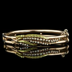 Victorian Lily of the Valley Seed Pearl Bangle Bracelet Main View