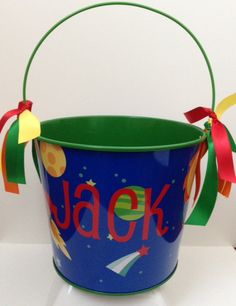 OUTERSPACE THEME EASTER Bucket  Spaceship by Partiesandpastries  Cute Easter Buckets now available in our Etsy Shop! Themes include Zebra Print, Jungle Safari, Outer Space, and Pirates! We have limited quantities, so order early!! $10