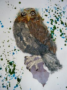 ORIGINL mixed media collage of an owl £50.00 available on folksy.com/shops/inkybird