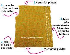 Poncho hecho con 2 cuadrados tejidos en dos agujas o palitos para niñas Baby Cardigan, Knitted Poncho, Drawstring Backpack, Knitting Patterns, Knit Crochet, Women, Fashion, Knit Shawls, Knit Jacket