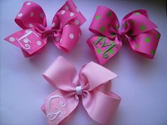 SALE..set of 3 monogrammed hair bows.. U Choose from 20 colors and initial. $10.98, via Etsy.