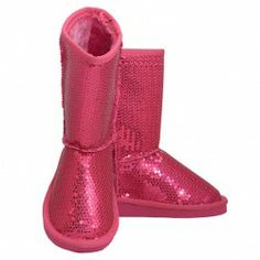 Your little girl will just adore these fuchsia faux suede sequin boots from Link.  $19.99