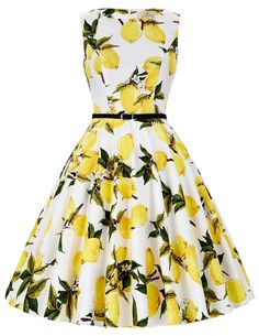 Cute Boatneck Sleeveless Vintage Tea Dress With Belt white yellow