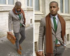 #streetstyle, grey, green, camel, brown, suit, tie, scarf .....would have liked it without the skinny jeans