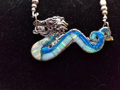 Dragon Necklace. Handmade opal inlay dragon necklace by Char Gordon