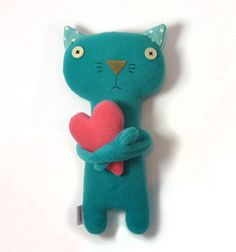Kitten with Heart stuffed plush animal by alelale on Etsy