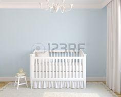 Interior hermoso de vivero con cuna cerca de la pared azul Vista frontal 3d  Foto de archivo