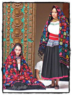 belleza y tradicion (beauty & tradition) ~ wearing rebozos (mexican shawls) Mexican Costume, Mexican Outfit, Mexican Dresses, Folk Costume, Mexico People, Mexican Textiles, Mexican Heritage, Mexican Fashion, Mexico Culture