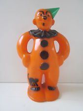 Vintage Halloween Hard Plastic Orange Clown Rosbro Candy Container