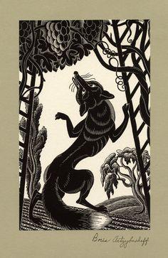 Boris Artzybasheff (Ukrainian-American, 1899-1965). Sour grapes. Woodcut.