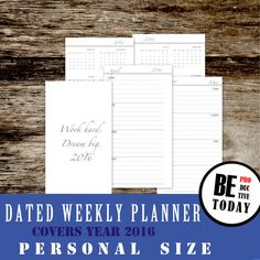 Weekly Planner: Printable Personal Inserts,  Dated Weekly Planner 2016, Week on Two Pages 2016, Filofax, Personal Inserts, Kikki K, Download
