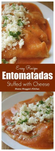 Entomatadas is an easy-to-make and tasty Mexican recipe. It consists of fried tortillas dipped in red salsa. Delicious! by Mama Maggie's Kitchen via @maggieunz #mexicanfoodrecipes