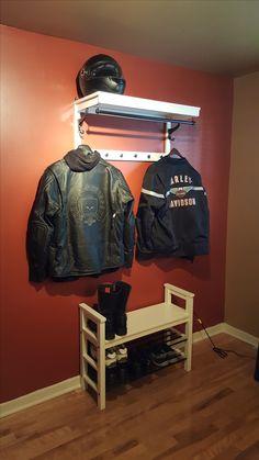 Motorcycle Jacket and Helmet Rack