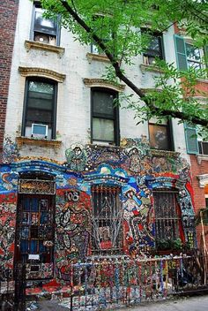 Wyckoff Street Mosaic   Detailed facade of a brownstone in Boerum Hill, New York